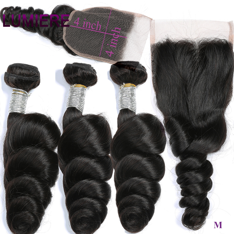 Lumiere brezilyalı saç gevşek dalga 3 demetleri ile kapatma İnsan saç demetleri ile kapatma dantel kapatma Remy insan saç uzatma