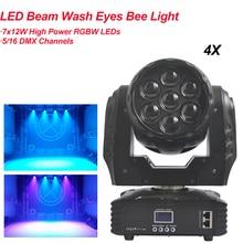 цена на 4Pcs/Lot 7x12W Moving Head Beam Bee Eye LED Effect RGBW Zoom Lyre Wash Dj Club Light DMX Wash Music Disco Stage Wedding Party