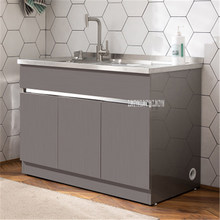 G110/G120 Basin Combination Cabinet With Washboard Small Family Type Laundry Pool Balcony Bathroom Stainless Steel Cabinet(China)