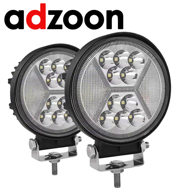 ADZOON 4INCH 126w Car Accessories DRL Round Spot Flood Combo 4WD LED Work Light 12v for Truck Bus SUV ATV Motorcycle Jeep