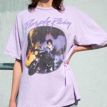 Kuakuayu HJN fioletowy deszcz Vintage Graphic Tee kobiet z krótkim rękawem fioletowy Chic wydrukowane bluzki letnie bawełniane luźne Casual T Shirt tanie i dobre opinie CN (pochodzenie) COTTON REGULAR Suknem Drukuj NONE Na co dzień O-neck