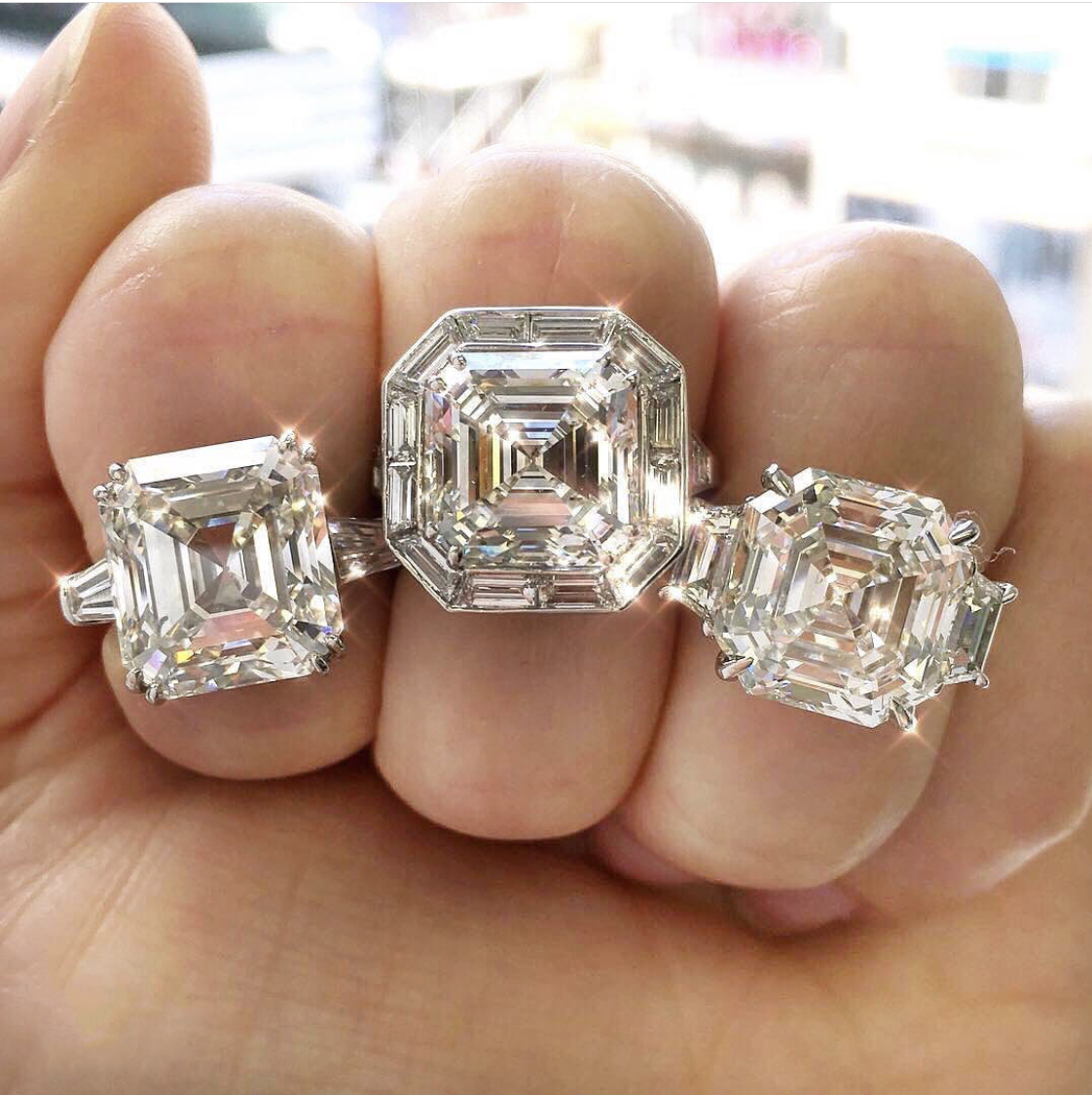 New 925 Sterling Silver 4ct Square Asscher cut Diamond rings for Women Wedding Engagement Cocktail Gemstone Rings finger Jewelry