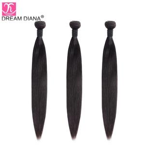 Image 3 - Индийские прямые волосы DreamDiana, 3/4 пучков, 8 30 дюймов, пряди плетеных волос без повреждений, натуральный цвет, 100% человеческие волосы для наращивания, низкое соотношение