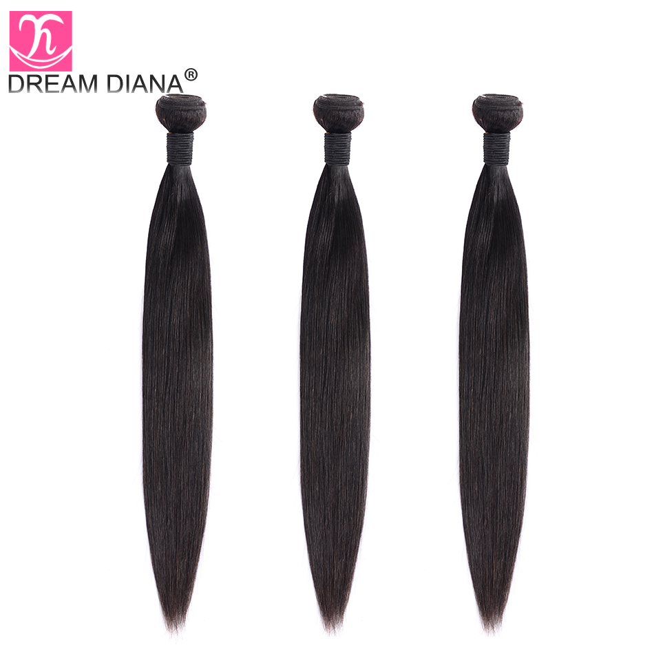 """Image 4 - DreamDiana Indian Hair Straight 1/3/4 Bundles 8"""" 30"""" L Remy Weaving Hair Bundles Natural Black Color 100% Human Hair Extensions-in Hair Weaves from Hair Extensions & Wigs"""