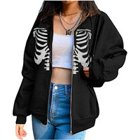 Chaqueta con capucha y estampado de esqueleto para mujer, Jersey holgado de manga larga con cremallera, sudaderas de gran tamaño, Tops Y2k Punk