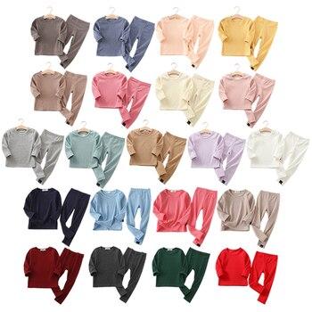 Spring Autumn Fall Winter Boys Girls Kids Cotton Clothes Set Rib Fabric Shirt + Pants Children Loungewear