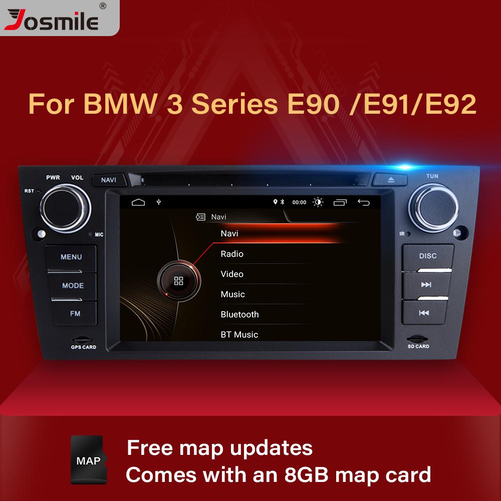 Josmile 1 Din Car DVD Player For BMW E90/E91/E92/E93 2005 <font><b>3</b></font> Series Multimedia Car Radio GPS Navigation System Audio Head Unit 3G image