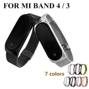 Image 2 - Miバンド5 4 3金属ストラップブレスレットxiaomi miバンド3 4 5ネジなしmiバンド4 3ブレスレットmibandリストバンドスマートBand4鋼