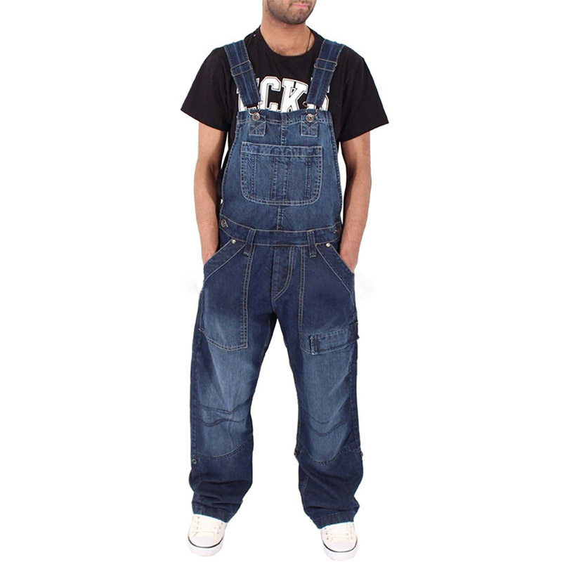 KIOVNO Men's Fashion Casual Jeans Jumpsuits Multi Pockets Loose Denim Bib Overalls For Male Size S-3XL