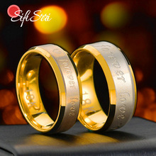 1 Pcs Stainless Steel Heart Forever Love Engraved Couple Rings Women Men Gold Engagement Couple Set Ring Promise Jewelry luxury heart gold wedding ring set cz pave crystal rings for women fashion jewelry couple love ring men engagement gift o3m039