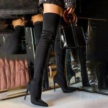 2020 стильные женские Сапоги выше колена; Высокие сапоги с острым