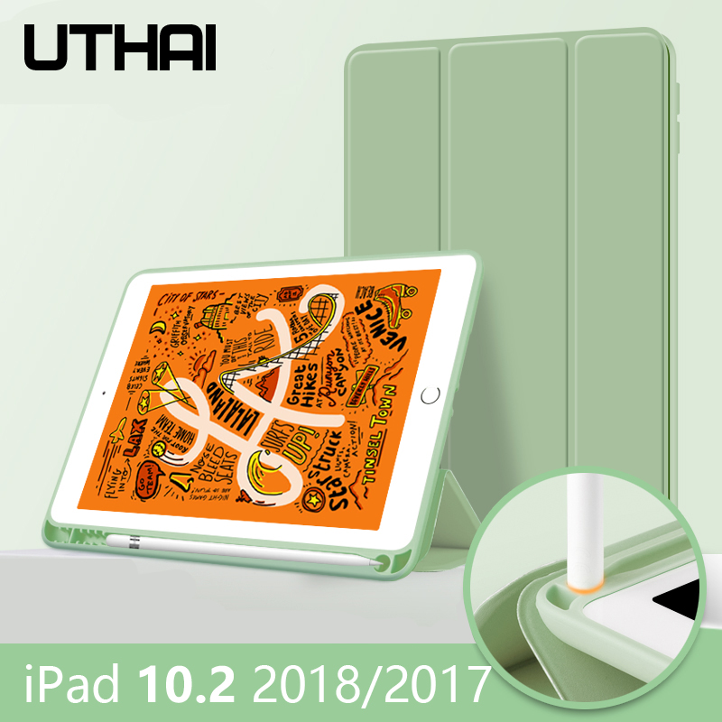 UTHAI For Ipad 10.2 Case 2019,with Pen Holder, For Ipad10.5 7th Generation TPU Soft Silicone Sleeve Can Automatically Sleep/wake