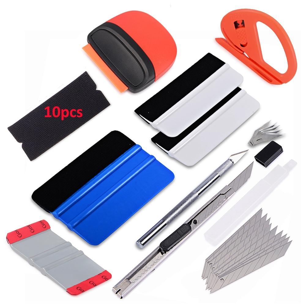 Car accessories carbon fiber vinyl car wrap tool kit felt squeegee foil film cutter knife sticker remover razor scraper tool set(China)
