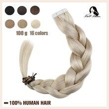 מלא ברק קלטת שיער טבעי הרחבות טהור צבע 100g 40pcs בלונד ישר דבק דבק על שיער 100% מכונה רמי HumanHair