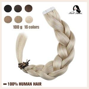 Image 1 - Extensiones de cabello humano con cinta brillante, Color puro, 100g, 40 Uds., adhesivo Rubio liso, máquina de 100%, cabello humano Remy