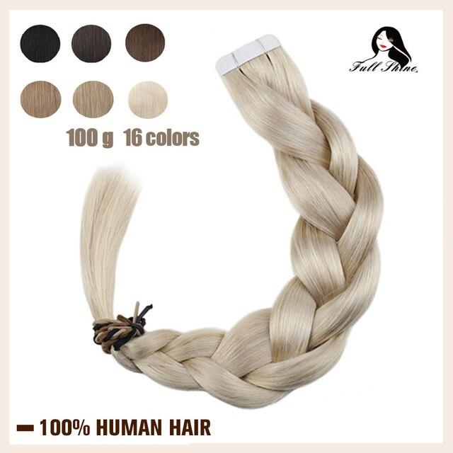 Extensiones de cabello humano con cinta brillante, Color puro, 100g, 40 Uds., adhesivo Rubio liso, máquina de 100%, cabello humano Remy