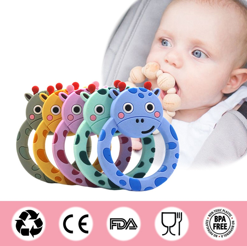 1PC Silicone Baby Teether Cartoon Animal  BPA Free Baby Product Nursing Necklace Pacifier Pendant Chain Baby Teething Toy