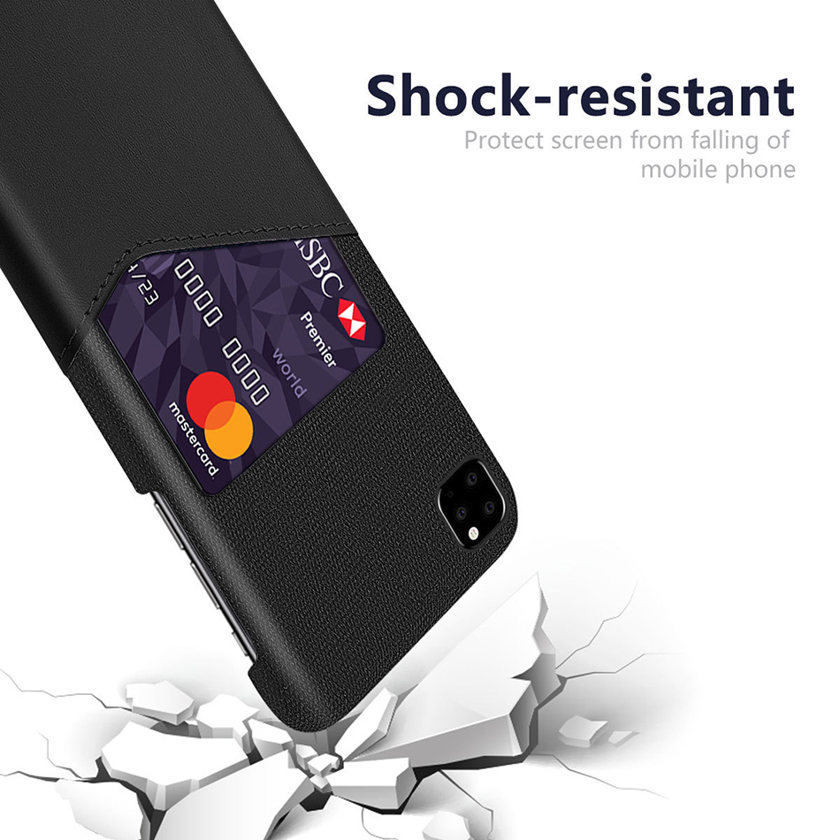 !ACCEZZ Fabric Phone Case For iPhone 11 Pro Max Case Protection Back With Card Pocket Anti-slip Shell Cover Business Coque Capa (7)