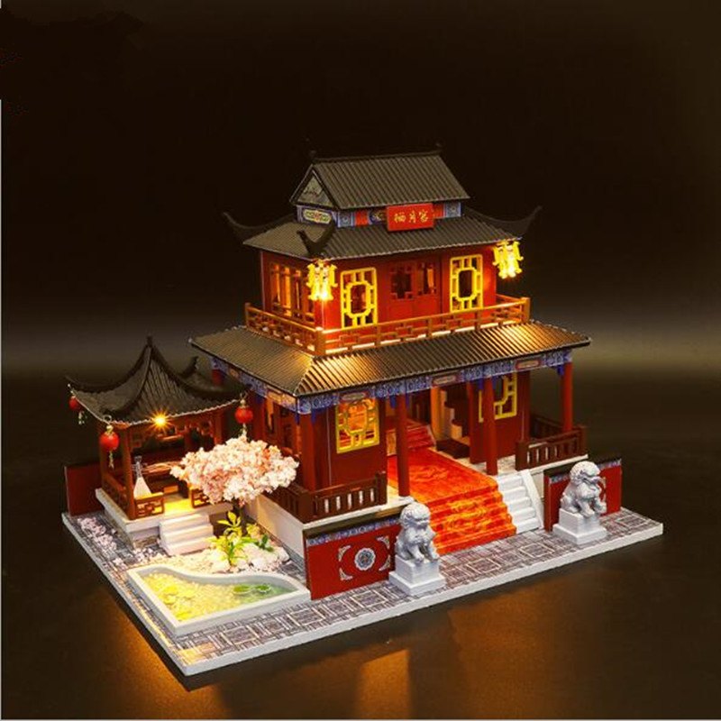Large Chinese style DIY Doll House Wooden doll Houses Miniature dollhouse Furniture Kit Handmade Toys birthday gift for kids