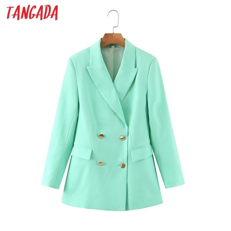 Tangada Women Candy Color Blazer Female Long Sleeve Elegant Jacket Ladies Work Wear Blazer Formal Suits SL515