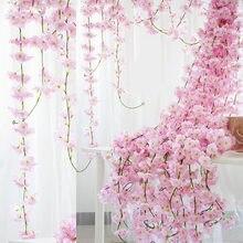 225CM Artificial Silk Flowers 18 Clusters Cherry Vine Rattan Garland Wall Hanging Faux Cherry Blossom Vine Wedding Home Decor