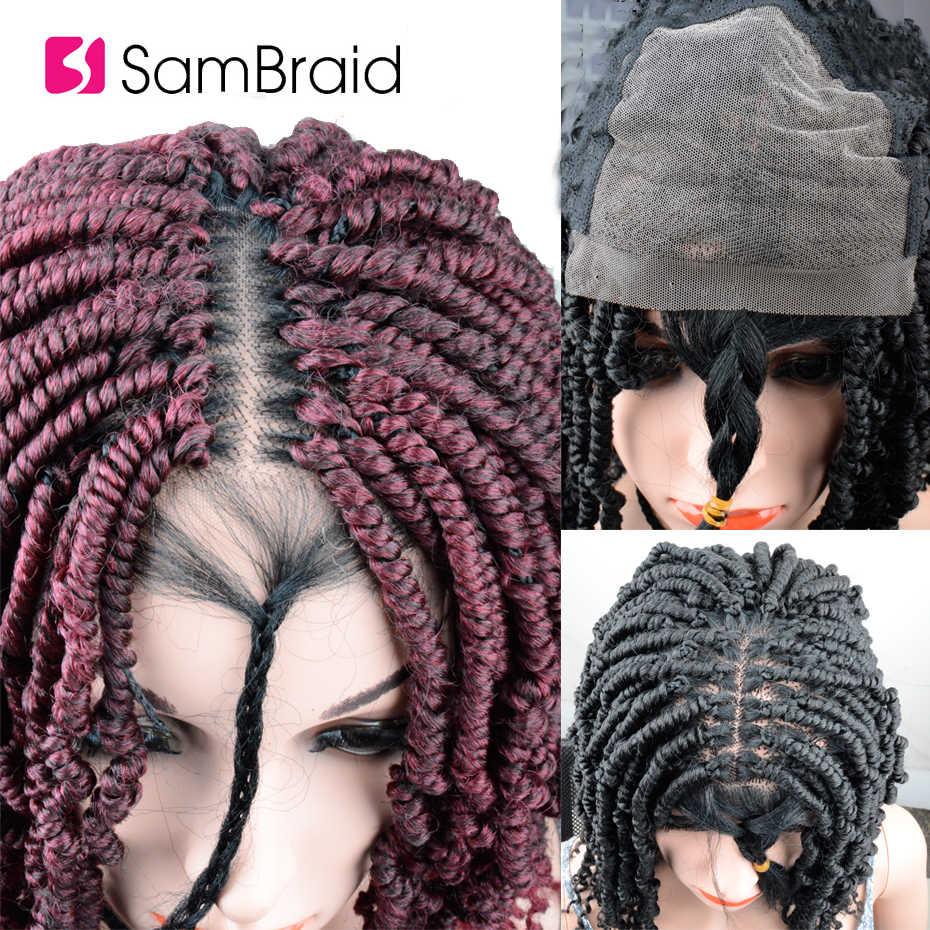 Sambraid diy crochê tranças cabelo laço peruca de cabelo sintético paixão torção trança cabelo gengibre frente do laço perucas para mulher