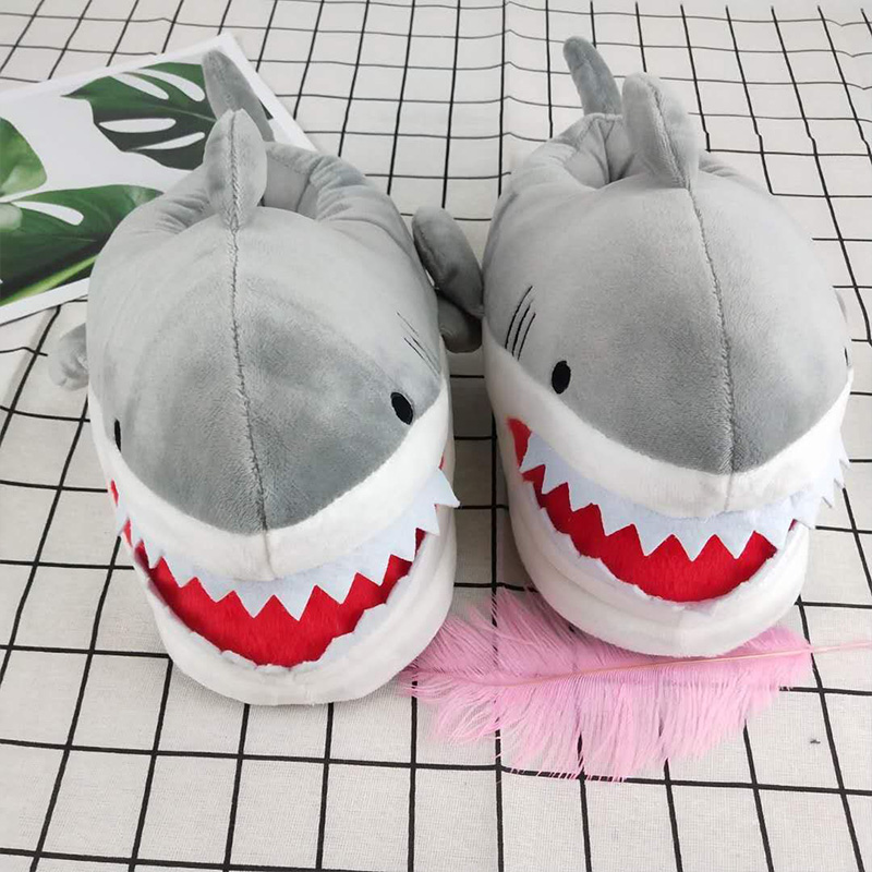 Girls lovely funny shark slippers for women keep warm indoor winter shoes woman house fur slippers