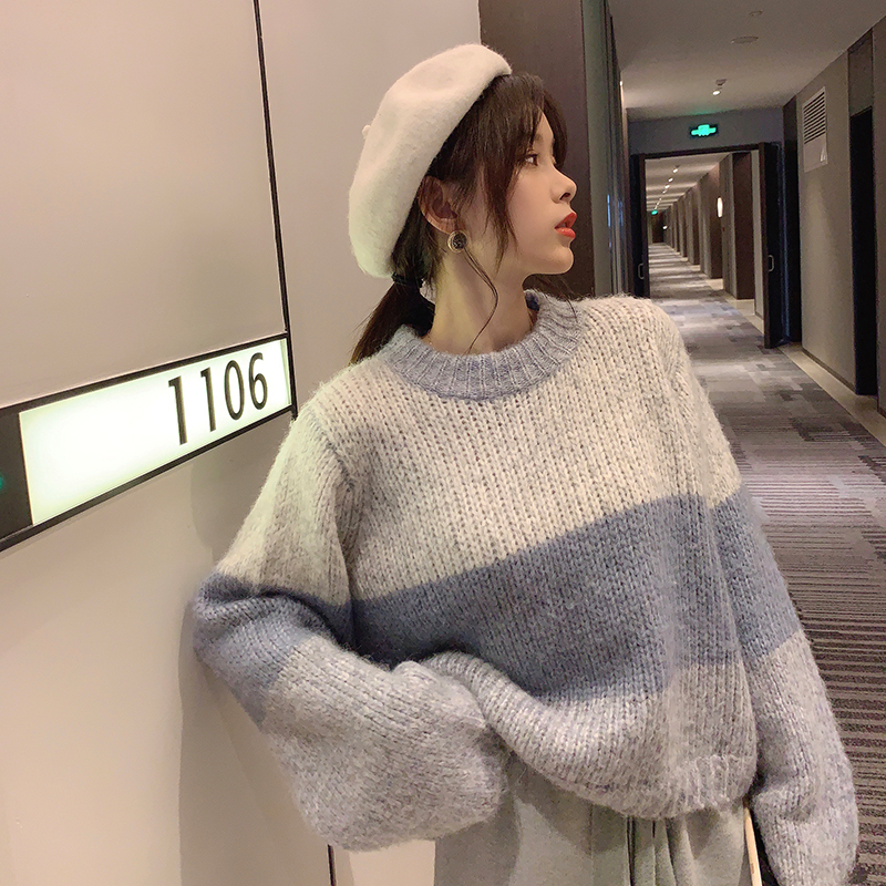 Mishow Winter Stripe Thick Knit Sweater Women Causal Round Neck Loose Long Sleeve Knit Pullover Tops MX19D5627