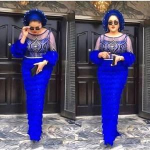 Image 1 - 2020 Mới Nhất Pháp Nigeria Dây Vải Vải Tuyn Cao Cấp Phi Dây Vải Cho Đám Cưới Phối Ren 3 Thước W002 Hoàng Gia xanh Dương