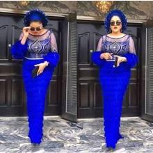 Tela de encajes nigerianos franceses, tul de alta calidad, encajes africanos, tela para tela de encaje de boda, 3 yardas, Azul Real, W002, novedad de 2020