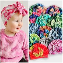 Детские шапки Tie-dye с большим бантом, Детские тюрбаны для девочек, детские головные уборы для малышей, эластичные радужные детские шапки для ...
