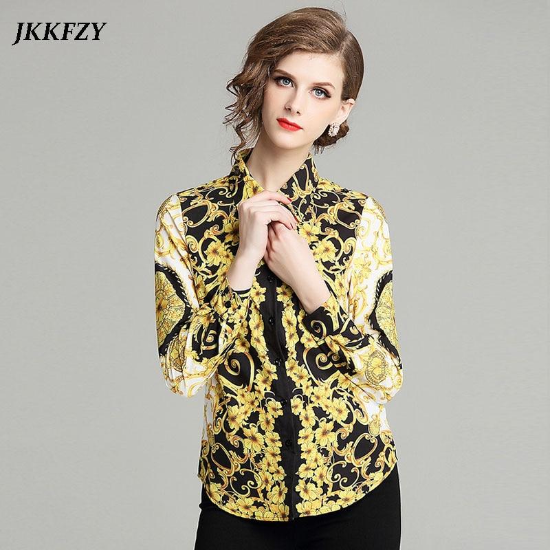 Women Autumn Winter Long Sleeve Vintage Blouse Gold Turn Down Collar Design Runway Shirt Office Lady Temperament Elegant Top