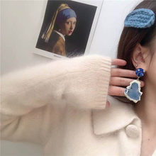 Za 2019 Vintage Earrings For Women Hanging Smoky Blue Earrings Wedding Earrings Exaggeration Boho Jewelry(China)