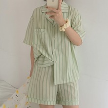 stripe shorts sets women s suit long sleeve single breasted shirts and elastic waist shorts 2021 summer thin two piece set women Pajama Suit 2020 Summer Korean Loose Suit Collar Short Sleeve Shirt Stripe Elastic Shorts Pajama Women's Two Piece Set Homewear