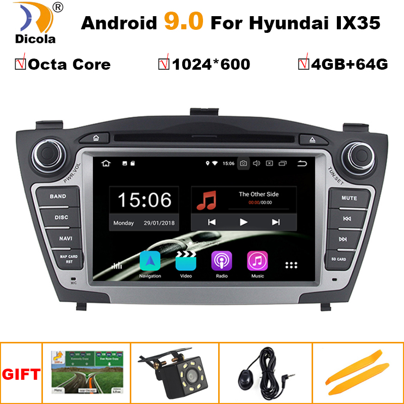 4+64G IPS Car DVD GPS Navigation System for Hyundai Tucson IX35 2Din Android 9 Stereo Radio Audio Music Video Multimedia Player