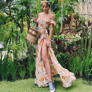 Image 3 - TEELYNN off shoulder maxi dresses sexy Side split boho dress floral print summer Dresses beach Gypsy women dress Vestidos