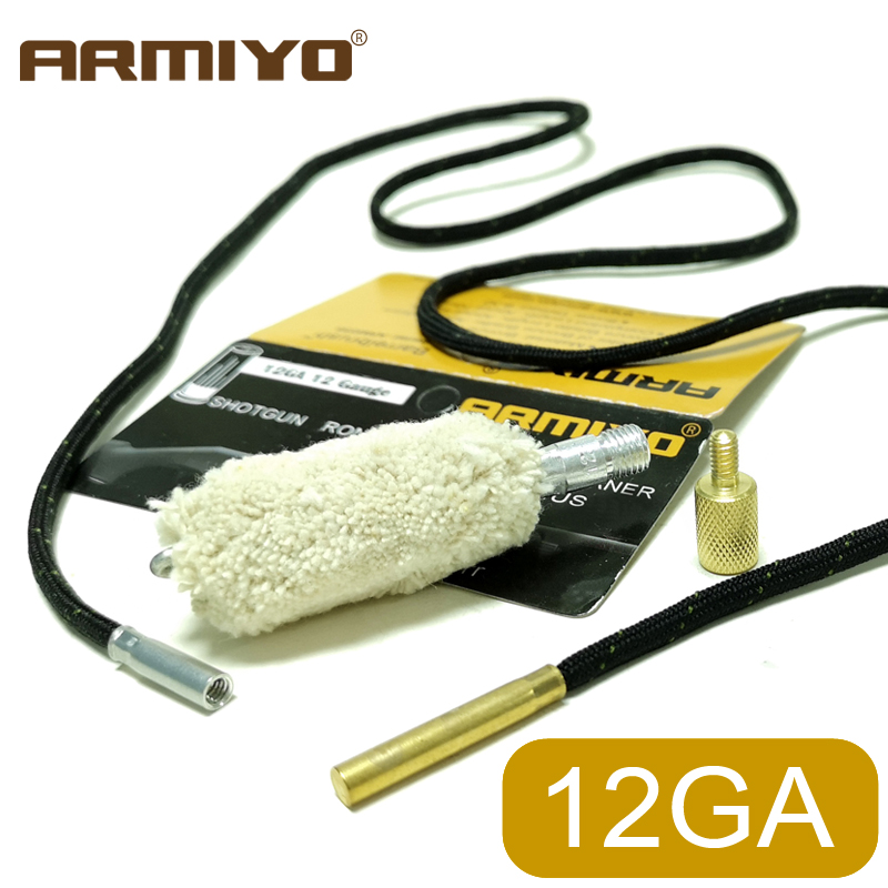 Armiyo 12GA 12 Gauge 18.5mm Gun Cleaning Swabs Brush Barrel Cotton Oiling Aid Tool Hunting Accessories Thread 5/16