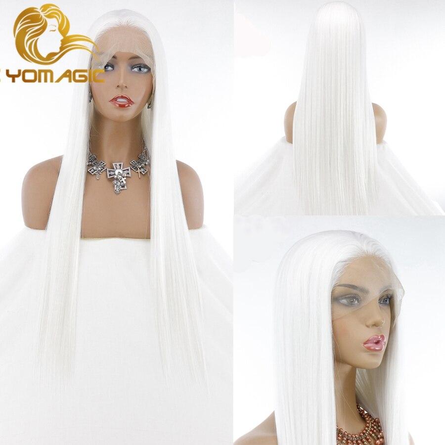 Длинные прямые синтетические волосы Yomagic, кружевные передние парики для женщин, натуральный белый цвет, синтетические парики без клея