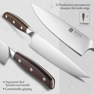 Image 3 - XINZUO 8 Chef Knife German DIN 1.4116 Steel Kitchen Knives Stainless Steel Meat Vegetables Knife Kitchen Red Sandalwood Handle
