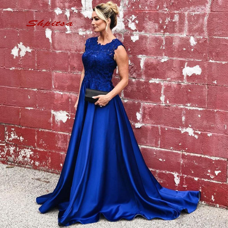 Royal Blue Lace Mother Of The Bride Dresses For Weddings Evening Plus Size Party Dinner Formal Godmother Groom Long Dresses