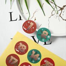 120 шт/лот рождественские наклейки с цифрами Рождественская