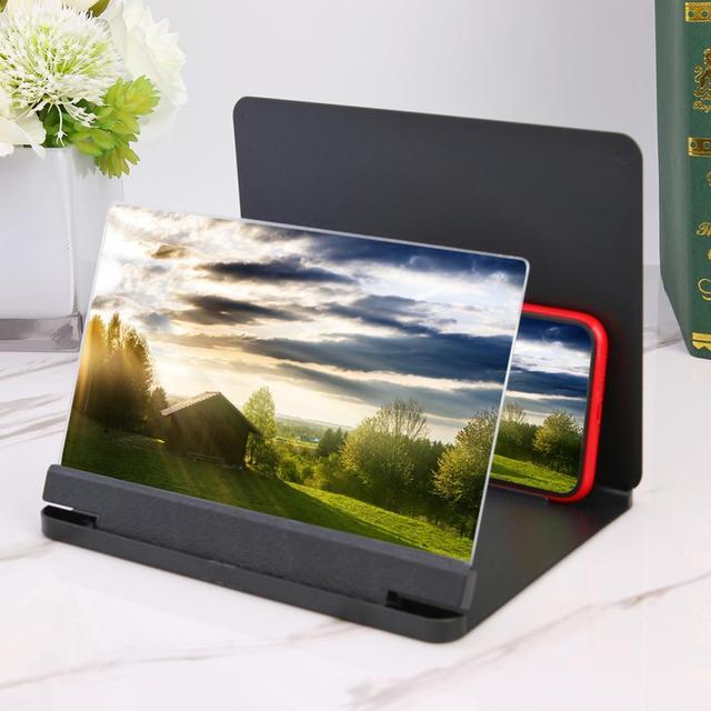 12 inç cep telefonu 3D ekran Video Magnif braketi katlanır büyütülmüş masaüstü Smartphone film Video HD amplifikatör projektör standı