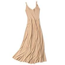 new fashion ice silk  women's pleated Long dresses Spring Summer Slim Waist rib knit dress straps bottoming popular Tank Dress цена