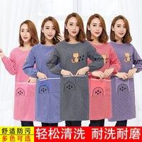 Koreański styl z długim rękawem kuchnia stylowa bawełna czysty fartuch bawełna Overclothes mężczyźni i kobiety dorosły domowy śliniak rękaw czysty w Zarękawki od Dom i ogród na