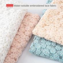 Tela de vestido de encaje soluble en agua, bordado de alta calidad, ropa calada, costura, color rosa, azul, blanco, color sólido, bricolaje