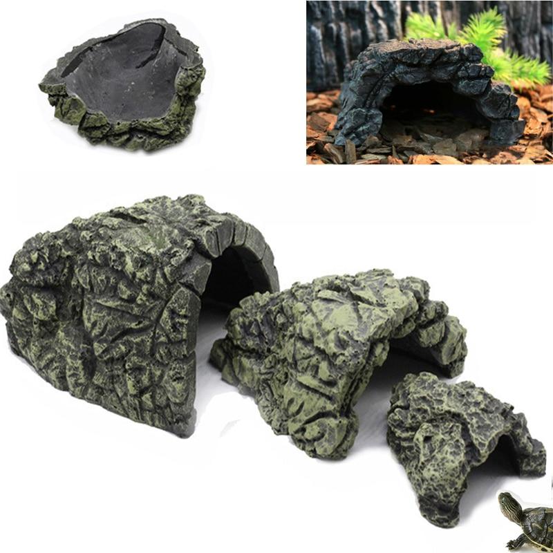 New Resin Reptile Rock Hide Habitat Cave Hiding Spot Lizard Spider Snake Pot