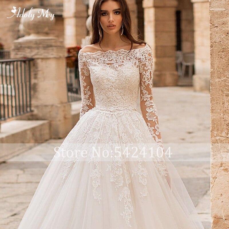Image 3 - Adoly Mey Romantic Boat Neck Appliques Long Sleeve A Line Wedding Dress 2020 Luxury Sashes Beaded Court Train Vintage Bride GownWedding Dresses   -