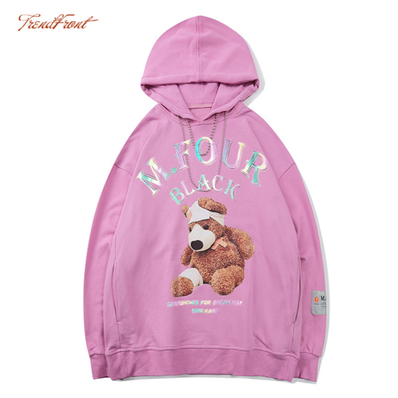 TF Autumn Winter Lovers Ins Non-Mainstream Design Cute Cartoon Bear Hooded Sweater Men and Women National Trends Fashion Hoodie 1