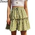 2020 neue Design Floral Print Mini Rock Frauen A-line Casual Hohe Taille Plus Größe Gefaltete Röcke Mädchen Sexy Rosa Kurze rock Xs