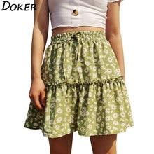 2020 Nieuwe Ontwerp Bloemenprint Mini Rok Vrouwen A-lijn Casual Hoge Taille Plus Size Geplooide Rokken Meisje Sexy Roze Korte rok Xs